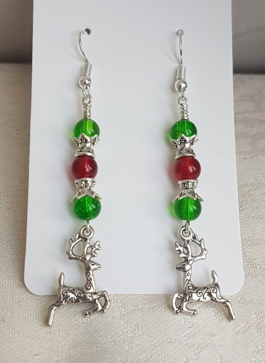 Festive Green and Red Glass Earrings with Reindeer Charms.