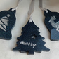 Set of 3 Resin Decorations - Midnight Blue and Silver.