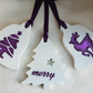 Set of 3 Resin Decorations - Glittery White and Purple