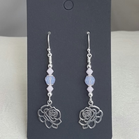 Gorgeous Rose Charm Dangly Earrings.