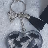 Large Resin Heart with Bats - Key Ring Key Chain Bag Charm.