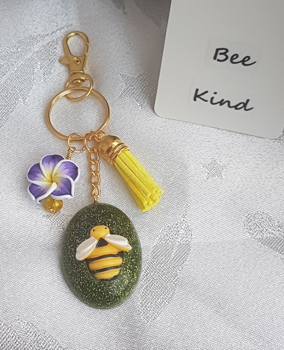 Gorgeous Green Oval Bumble Bee Key ring - Key chain Bag charm
