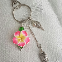 Beautiful Buddha Keyring - Key chain Bag Charm - Silver tones