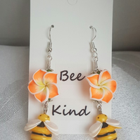 Gorgeous Flower and Bee Dangly Earrings.