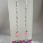 Gorgeous Dangly Pink Butterfly Earrings - Silver Tones.