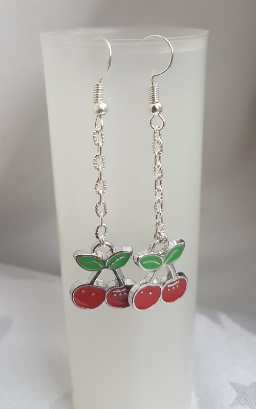 Gorgeous Dangly Cherries Earrings - Silver tones.