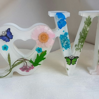 Gorgeous Floral & White LOVE Sign - Shelf Sitter - Ornament - Home Decor.