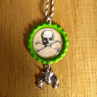 SALE - Skull and Crossbones Vintage Style Bottle cap Halloween Decoration