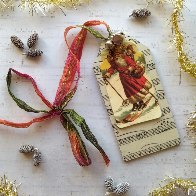 Skiing Santa Sparkly Mixed Media Wooden Luggage Tag Christmas Decoration Multi