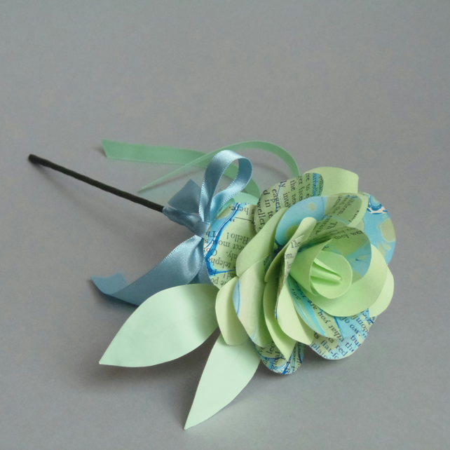 Marbled Paper Single Stem Rose - Green and Blue