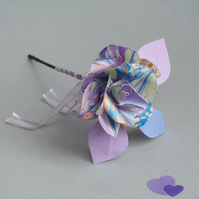 Marbled Paper Single Stem Rose - Mixed Lilac