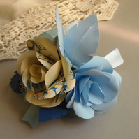 Marbled Pastel Blue, Navy and Ivory Corsage Buttonhole Arrangement