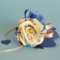 Marbled Cornflower Blue, Navy and Peach Corsage Buttonhole Arrangement