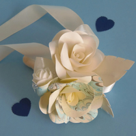 Corsage Marbled Light Blue and Ivory Buttonhole Arrangement