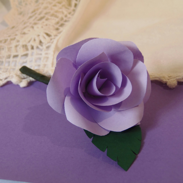 Buttonhole Paper Rose - choice of colours available