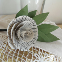 Classic Buttonhole Rose - Real Book Pages with paper leaves Weddings and Events