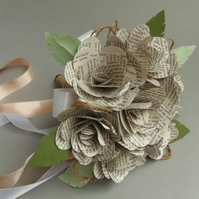"""Wild Rose Literary Petite 6"""" Bouquet - Real Book Pages, Choice of authors"""