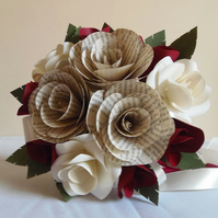 Author Bridesmaid Bouquet - Medium Sized Book Page Paper Flowers