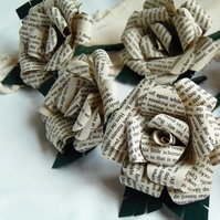 Vintage Style Book Buttonhole Rose Literary Wedding or Event Prom