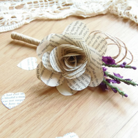 Rustic Book Page Buttonhole Rose with artificial heather