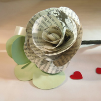 Book Buttonhole rose with Eucalyptus style artificial leaves