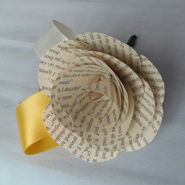 Book Buttonhole rose with ribbons - Literary Wedding or Event