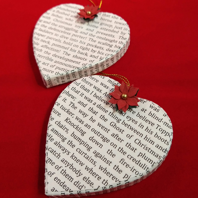 2x A CHRISTMAS CAROL Heart Shape Decorations