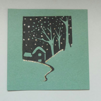 3pk Lino Print Christmas Cards - Green House Snowy Scene with Glitter