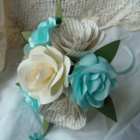 Small Book Page Bouquet with English Roses and Faux Pearl Gems