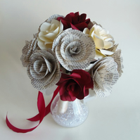 Literary Bouquet PHILIPPA Handcrafted Book Roses for Weddings, Choice of Authors
