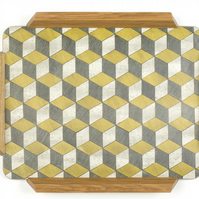 Decorative Tray Melamine Waldorf from Gatsby Range with Oak Handles