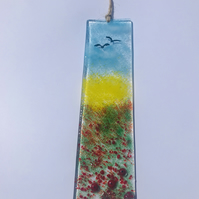 Hanging fused glass plaque