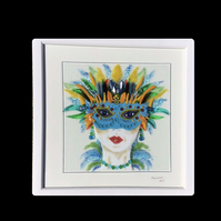 "Fused glass ""masquerade "" lady picture"