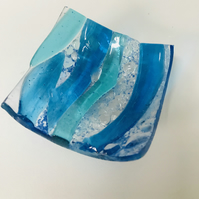 Fused glass sea theme trinket dish