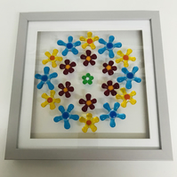 Daisy chain fused glass picture