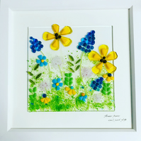"Fused glass ""flower power "" 30cm square picture"