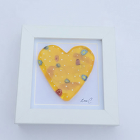 Fused glass cast heart in a box frame