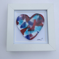 Beautiful cast heart in a box frame