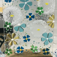 Fused glass funky flowers and dandelion panel candle screen