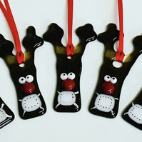 Fused glass sympathetic quirky reindeer hanging tree decoration