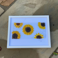 Sunflower design picture in White a4 frame