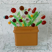 Fused glass flower pot