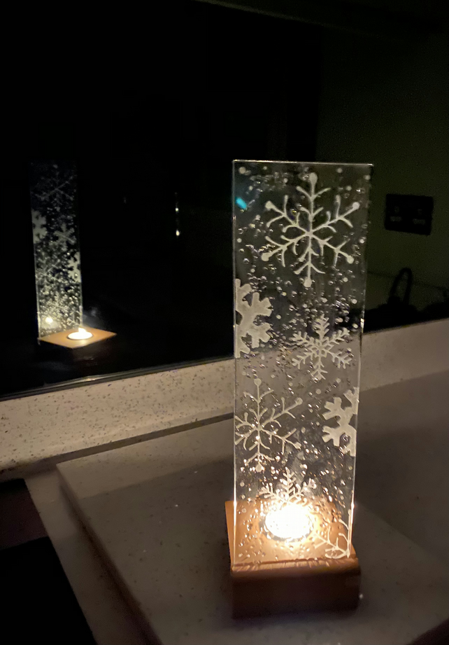 Fused glass candle screen in oak base