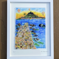 Saint Michaels mount Cornwall fused glass picture