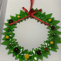 Fused glass traditional wreath,