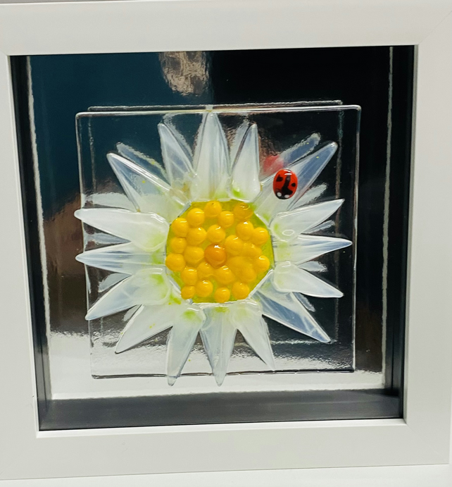 Fused glass daisy head with lady bird picture