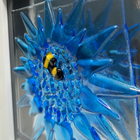 Fused glass cornflower with bee picture.