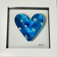 Fused glass  cast heart in a box frame, home accessory picture