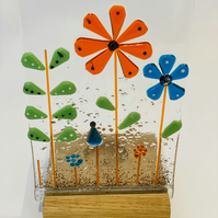 Fused glass retro flowers candle screen