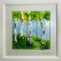 Fused glass silver birch art work